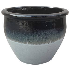 Gradina Round Terracotta Glaze Garden Plant Pot in Grey - 46cm
