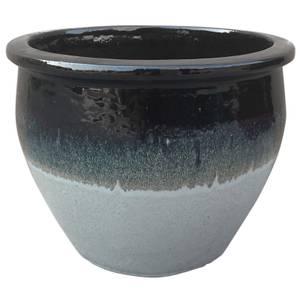 Gradina Round Terracotta Glaze Garden Plant Pot in Grey - 22cm