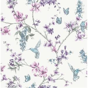 Superfresco Easy Hummingbird Floral Purple Wallpaper