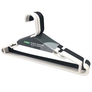 Black and White Plastic Hanger - 10 Pack