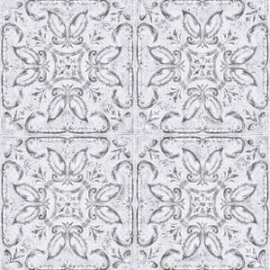 Contour Vintage Tin Tile White Wallpaper