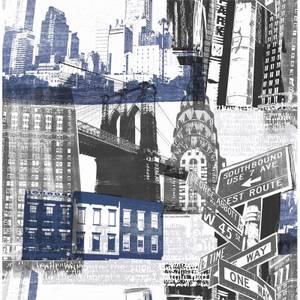 Fresco New York Wallpaper - Blue & Black