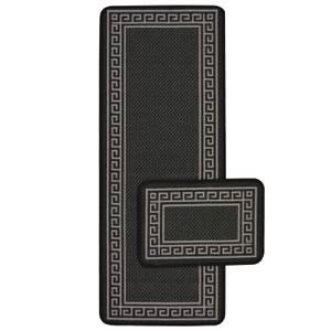 Greek Key Black Runner & Mat Set - 57x180 & 57x40cm