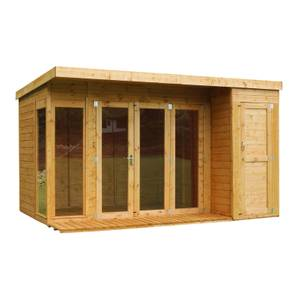 Mercia (Installation Included) 12x8ft Garden Room with Side Shed