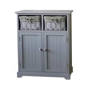 Grey Classic 2 Door, 2 Willow Drawer Storage Unit