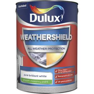 Dulux Weathershield All Weather Smooth Masonry Paint - Pure Brilliant White - 5L