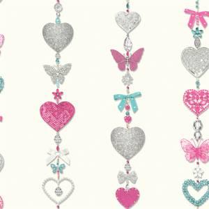 Arthouse Tiffany Hearts Stripe Smooth Glitter White Wallpaper