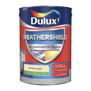 Dulux Weathershield All Weather Smooth Masonry Paint - Cornish Cream - 5L
