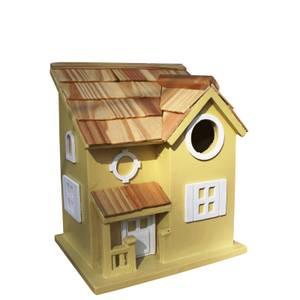 Nestling Cottage Bird House Yellow