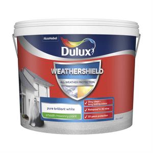 Dulux Weathershield All Weather Smooth Masonry Paint - Pure Brilliant White - 10L