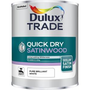 Dulux Trade Quick Drying Satinwood Paint - Pure Brilliant White - 1L