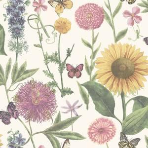 Arthouse Summer Garden Floral Smooth White Multi Coloured Wallpaper