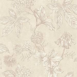 Arthouse Botanic Floral Textured Metallic Nude Wallpaper
