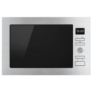 Smeg FMI425X Cucina Stainless Steel Glass Built-in Microwave Oven with Grill complete with Frame - 25 litres