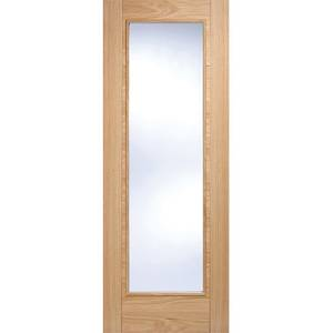 Vancouver Pattern 10 Internal Glazed Prefinished Oak 1 Lite Fire Door - 686 x 1981mm