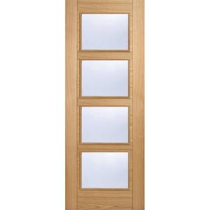 Vancouver Internal Glazed Prefinished Oak 4 Lite Fire Door - 838 x 1981mm