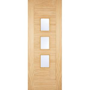 Arta External Glazed Unfinished Oak 3 Lite Part L Compliant Door - 813 x 2032mm
