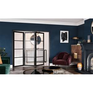 Slim-line Black 4 Light Clear Glazed Room Divider 3+0