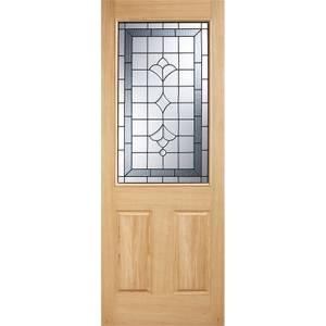 Winchester External Glazed Unfinished Oak 1 Lite Part L Compliant Door - 838 x 1981mm
