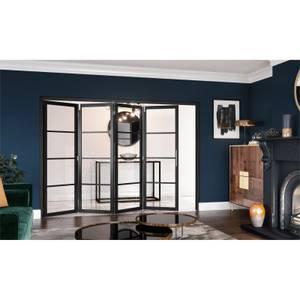 Slim-line Black 4 Light Clear Glazed Room Divider 4+0
