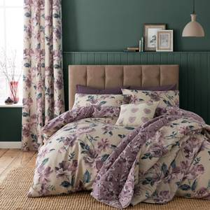 Catherine Lansfield Painted Floral Easy Care Single Duvet Set - Plum