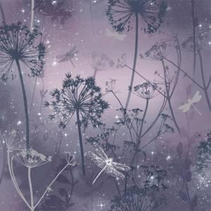 Arthouse Damselfly Floral Smooth Glitter Purple Wallpaper