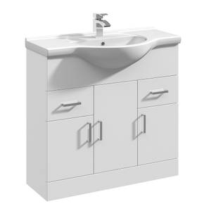 Balterley Orbit 850mm Freestanding Unit With Basin 1 - Gloss White
