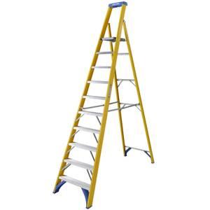 Werner Fibreglass Platform Step Ladder - 10 Tread