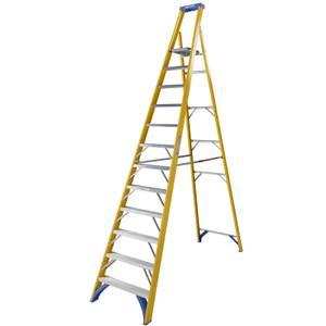 Werner Fibreglass Platform Step Ladder - 12 Tread