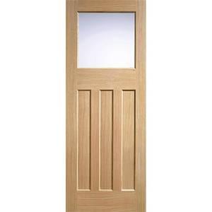 DX30's Style Internal Glazed Unfinished Oak 3 Panel 1 Lite Door - 838 x 1981mm
