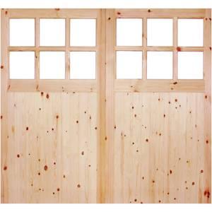 External Glazed Unfinished Redwood 12 Lite Rebated Garage Door Pair - 2135 x 2135mm