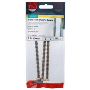 Concrete Screw Zyp 7.5mm x 120mm - Pack of 3