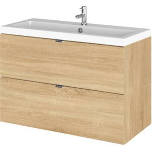Balterley Dynamic 800mm Wall Hung Vanity Unit with Basin - Natural Oak