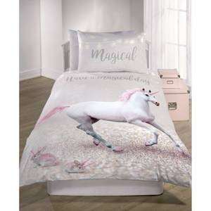Catherine Lansfield Enchanted Unicorn Easy Care Kids Single Duvet Set - Pink
