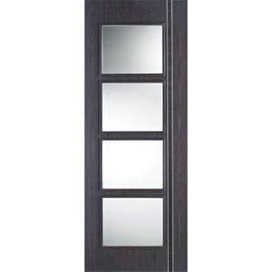Zanzibar Internal Glazed Prefinished Ash Grey 4 Lite Door - 838 x 1981mm