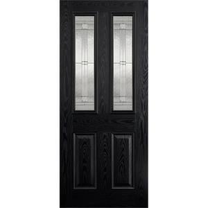 Malton External Glazed Black GRP 2 Lite Door - 813 x 2032mm