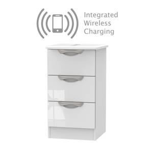 Portofino White Gloss 3 Drawer Bedside Cabinet - Rechargeable