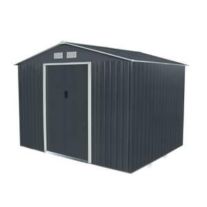 Charles Bentley 9ft x 6ft Grey Metal Storage Shed