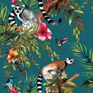 Holden Decor Lemur Jungle Smooth Teal Background Wallpaper