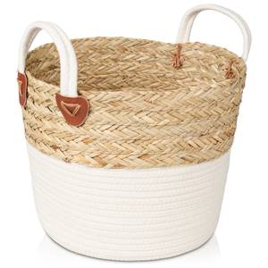 Medium Rope Storage Basket - White Base