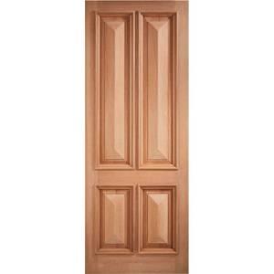 Islington External Unfinished Hardwood 4 Panel Door - 813 x 2032mm