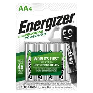 Energizer Power Plus 2000mAh Rechargeable AA Batteries - 4 Pack