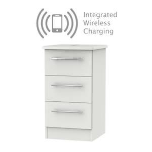 Siena Grey Matt 3 Drawer Bedside Cabinet - Rechargeable