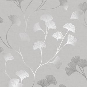 Holden Decor Glistening Ginkgo Floral Smooth Metallic Grey and Silver Wallpaper