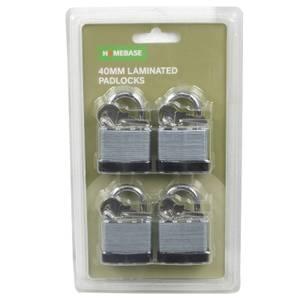Laminated Steel Padlock - Pack of 4