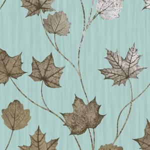 Holden Decor Maple Leaf Smooth Metallic Teal Wallpaper