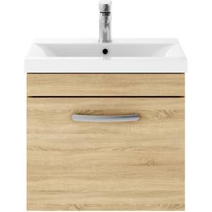 Balterley Rio 500mm Wall Hung Single Drawer Vanity With Basin 1 - Natural Oak
