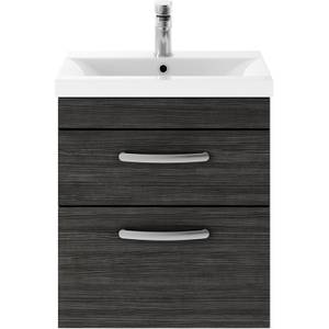 Balterley Rio 500mm Wall Hung 2 Drawer Vanity With Basin 1 - Hacienda Black