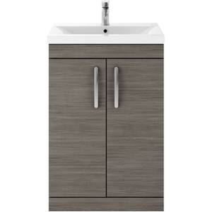 Balterley Rio 600mm Freestanding 2 Door Vanity With Basin 1 - Grey Avola