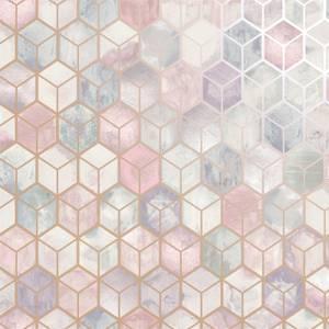 Holden Decor Tafoni Geometric Smooth Metallic Pink Wallpaper